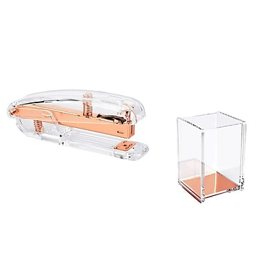 Insten Deluxe Design Acrylic Stapler (15 Sheet Capacity) + Pen Pencil Ruler Holder Cup Stationery - Clear/Rose Gold