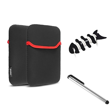 Insten Black Sleeve Case Bag + Stylus + Fishbone Wrap For Apple iPad Mini 3rd / 2nd Retina Display / 1st Gen