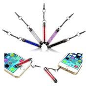 Insten 10-Piece Universal Colorful Crystal Glitter Sparking Mini Stort Stylus Touch Screen 3.5mm Jack Dust Cap Pen