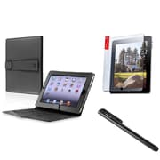 Insten Black Leather Case+Touch Stylus+LCD Screen Protector For iPad 1 16GB 32GB