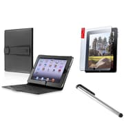 Insten Black Folio Flip Leather Case Cover Stand For Apple iPad 1 1st New w/Protector+Stylus