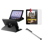 Insten 360 Black Leather Case+Anti-Glare Screen Protector+Pen for iPad Retina 2 3 4 Gen (Supports Auto Sleep/Wake)