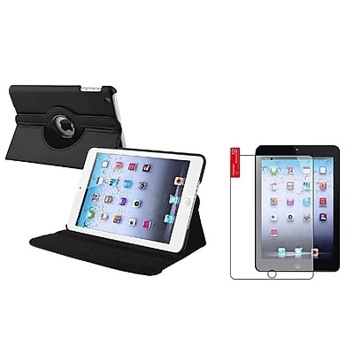 Insten Black Leather Case+3 Packs Film For Apple iPad Mini 1st 2nd 3rd Gen (Auto Sleep/Wake)