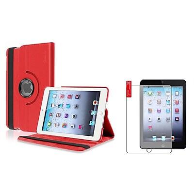 Insten Red Swivel Leather Case+Anti-Glare LCD Screen Protector Film For Apple iPad Mini 3/2/1