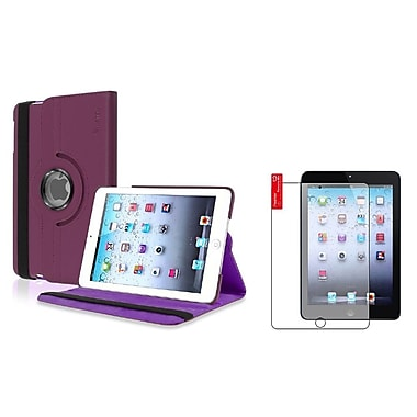 Insten Purple Leather Case + 3pcs Anti-Glare Film For iPad Mini 3rd 2nd 1st (Auto Sleep/Wake)