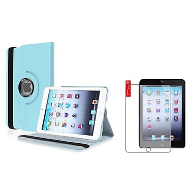 Insten® Leather Case and 3-Piece Anti Glare Screen Protector For Apple iPad Mini 1 / 2 / 3, Light Blue(826883)