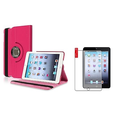 Insten® Leather Case and 3-Piece Anti Glare Screen Protector For Apple iPad Mini 1 / 2 / 3, Hot Pink(826885)