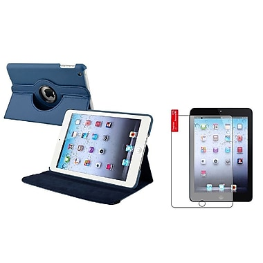 Insten® Leather Case and Anti Glare Protector For iPad Mini 1/2/3, Navy Blue(816115)