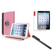 Insten Light Pink 360 Leather Case+Film+Black Stylus For iPad Mini 1 2 3 (w/ Auto Sleep/Wake)