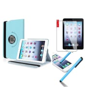 Insten Retina Display 360 Degree Rotating PU Leather Case Cover w Swivel Stand For iPad Mini 3 / 2 / 1 - Light Blue