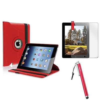Insten 360 Rotating Leather Case Cover Swivel Stand Red For Apple iPad 4 4th 3 3rd 2 2nd (Supports Auto Sleep/Wake)
