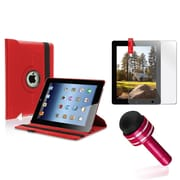 Insten Red 360 Rotating PU Leather Case Cover Stand For Apple iPad 4 4th 4G Gen 3 3rd 2
