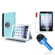 Insten Light Blue Rotating PU Folio Leather Case Cover w Swivel Stand for iPad Mini 1/2/3