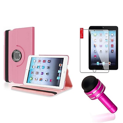 Insten Light Pink Rotating PU Folio Leather Case Cover w Swivel Stand for iPad Mini 1/2/3