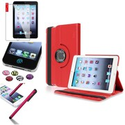 Insten Red 360 Degree Rotating Leather Case Cover Stand for Apple iPad Mini 3 2 1+Sticker