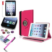Insten Hot Pink 360 Degree Rotating Leather Case Cover Stand for Apple iPad Mini 3 2 1+Sticker