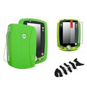 Insten Skin Gel Rubber Shell Case+Matte Protector+Headset For LeapFrog LeapPad 2 Green
