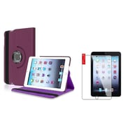 Insten Purple Rotating Leather Case Stand Cover+2pcs Screen Protector for Apple iPad Mini 1 2 3