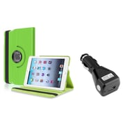 Insten Green 360 Degree Leather Case Stand for iPad Mini 3 1 2+Car Charger