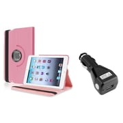 Insten Light Pink 360 Degree Leather Case Stand for iPad Mini 3 1 2+Car Charger