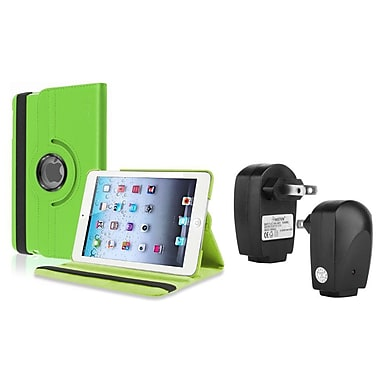 Insten® Leather Case Smart Cover Stand and Travel Charger Adapter For Apple iPad Mini 3 / 2 / 1, Green(1249838)