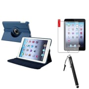 Insten Navy Blue Leather Case Stand+Anti Glare Protector+Stylus For iPad Mini 1st 2nd 3rd