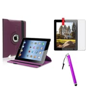 Insten 360 Rotating PU Leather Case For Apple iPad 4 4G Gen 3 3rd 2 Purple