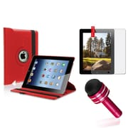 Insten 360 Rotating PU Leather Case For The iPad 4 4G Gen 3 3rd 2 Red