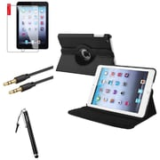 Insten 360 Black Leather Case Cover+LCD+Stylus+Cable for iPad Mini 3 2 1
