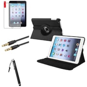 Insten 360 Black Leather Case Cover+Matte Protector+Cable For iPad Mini 3 2 1