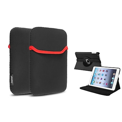 Insten 360 Black Leather Case Cover+Sleeve Pouch for iPad Mini 3 2 1