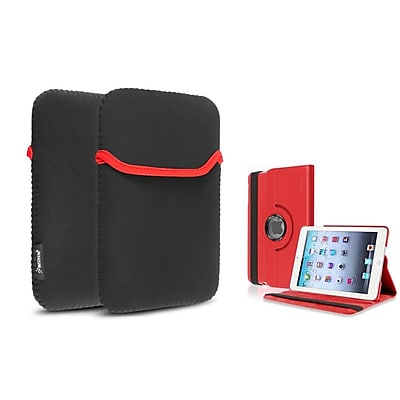 Insten Red 360 PU Leather Case Cover+Sleeve Pouch for iPad Mini 3 2 1