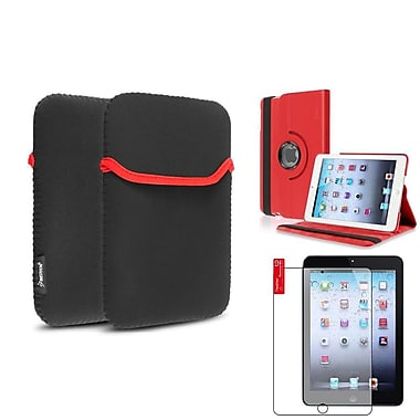 Insten Red 360 Leather Case Cover+Matte Protector/Sleeve for iPad Mini 3 2 1