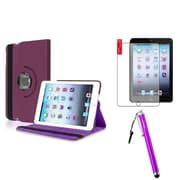 Insten Purple 360 Leather Case Cover+Anti Glare Protector+Stylus for Apple iPad Mini 3 2 1