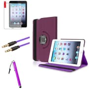 Insten Purple 360 Leather Case Cover+Matte Protector+Cable for iPad Mini 3 2 1