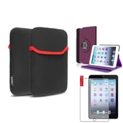 Insten Purple Violet 360 Degree Rotating Leather Case+Matte Protector+Sleeve for iPad Mini 3 2