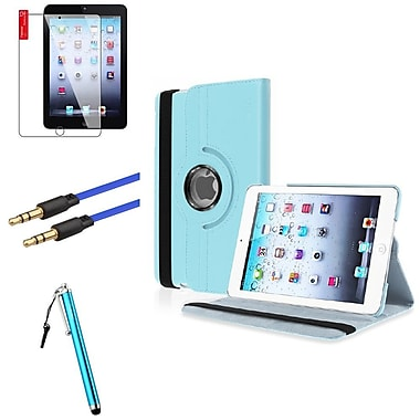 Insten Light Blue Leather Case Cover Pouch+Pen+Cable for iPad Mini 3 2 1 (Auto Sleep/Wake)