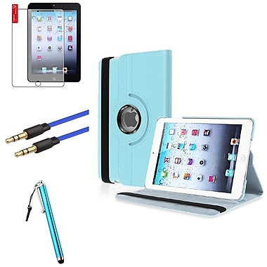 Insten® Leather Case Cover, Anti Glare Screen Protector, Stylus and Audio Cable for iPad Mini 3 2 1, Light Blue (1535598)