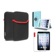 Insten Light Blue 360 Leather Case Cover+Protector+Pouch for iPad Mini 3 2 1