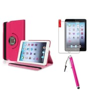 Insten Hot Pink 360 Leather Case Cover+AG Protector/Stylus for iPad Mini 3 2 1