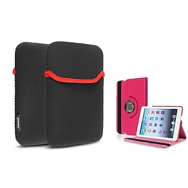 Insten® 360 PU Leather Case Cover and Sleeve Pouch for iPad Mini 3 2 1, Hot Pink(1535785)