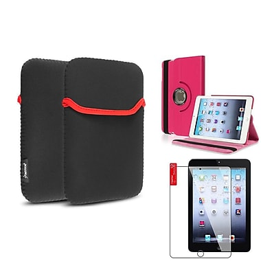 Insten® 360 PU Leather Case Cover, Tablet Sleeve Pouch and Clear Screen Protector for iPad Mini 3 2 1, Hot Pink(1535786)