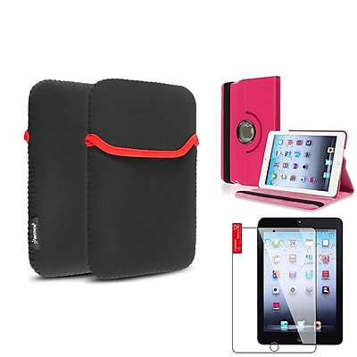 Insten Hot Pink 360 Leather Case Cover+Protector+Pouch for iPad Mini 3 2 1