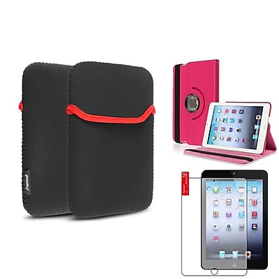 Insten Hot Pink 360 Leather Case Cover+Matte Guard for iPad Mini 3 2 1