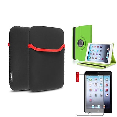 Insten Green 360 Leather Case Cover+Matte Protector/Sleeve for iPad Mini 3 2 1