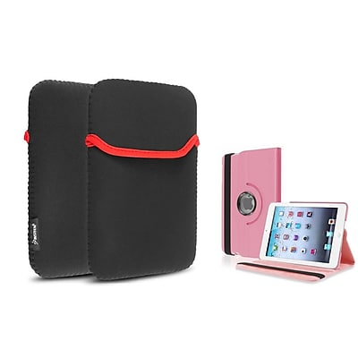 Insten Light Pink 360 Leather Flip Case Cover+Sleeve for iPad Mini 3 2 1