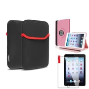 Insten Light Pink 360 Leather Case Cover+Protector+Pouch for iPad Mini 3 2 1