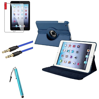 Insten® Leather Case Cover Pouch, Clear Screen Protector, Stylus and Audio M/M Cable for iPad Mini 3 2 1, Navy Blue(1536022)
