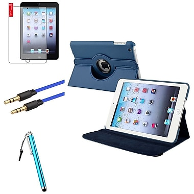 Insten® Leather Case Cover, Anti Glare Screen Protector, Stylus and Audio Cable for iPad Mini 3 2 1, Navy Blue (1536030)