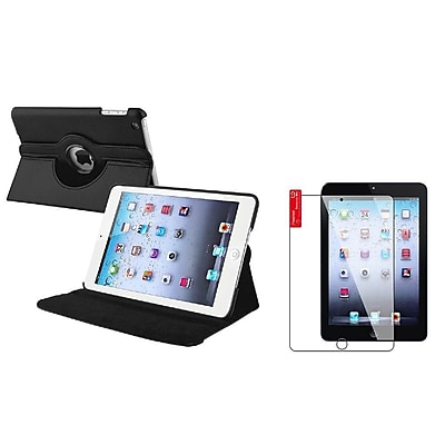 Insten Black Leather Rotating Stand Case + 3pcs Protector For Apple iPad Mini 3rd 2nd 1st